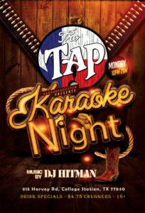 Monday night karaoke at the tap in college station